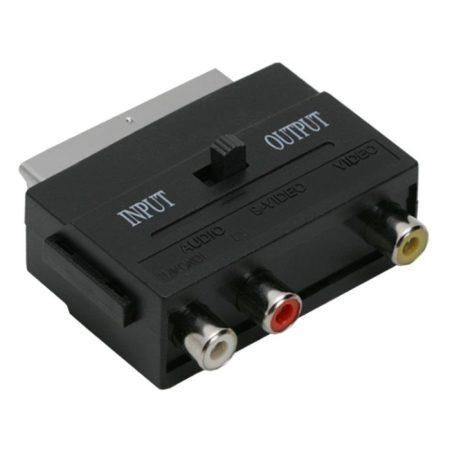 Audió/videó átalakító kapcsolós 3 RCA alj-Euro Scart dugó