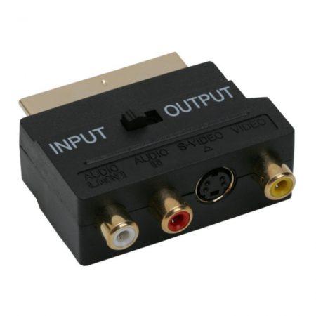 Aranyozott audió/videó átalakító kapcsolós 3 RCA alj-Euro Scart dugó +SVHS