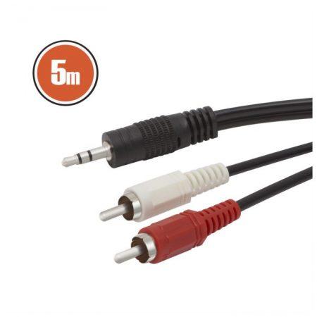 Hangkábel 2 x RCA dugó – 3,5 sztereó jack dugó 5 m