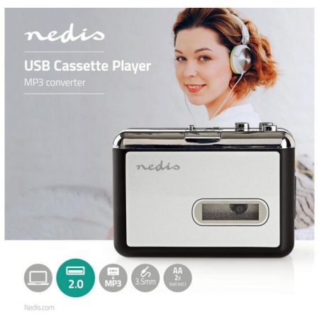 Hordozható USB Kazetta-MP3 Átalakító | USB-kábellel és Szoftverrel