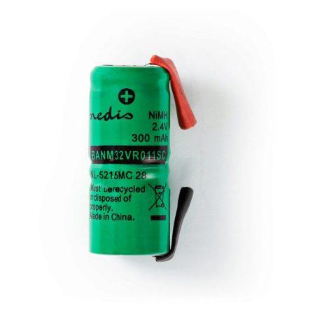 Nikkel-fémhidrid akkumulátor | 2,4 V | 300 mAh | Forrasztható csatlakozók