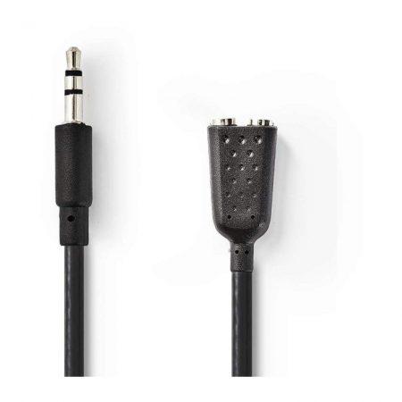 Sztereó audiokábel | 3,5 mm-es Dugasz - 2 db 3,5 mm-es aljzat | 0,2 m | Fekete