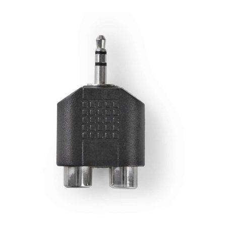 Sztereó audió adapter | 3,5 mm-es Dugasz - 2 db RCA-aljzat | 10 darabos | Fekete