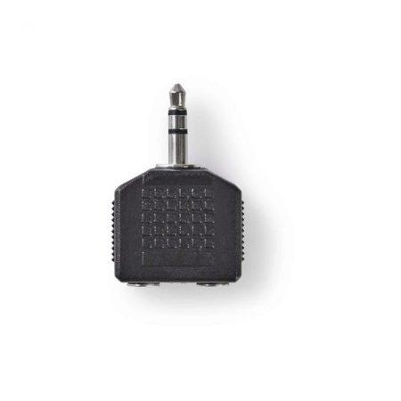 Sztereó audió adapter   3,5 mm-es Dugasz - 2 db 3,5 mm-es Aljzat   10 darabos   Fekete
