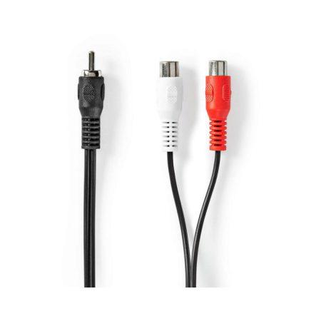 Mélynyomó kábel | RCA Dugasz - 2 db RCA Aljzat | 0,2 m | Fekete