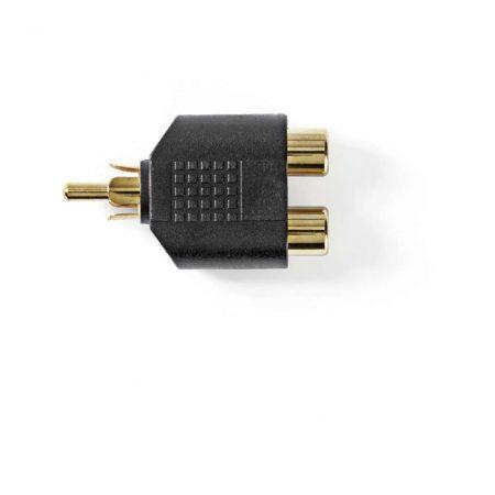 Mélynyomó-adapter | RCA-dugasz - 2 db RCA-aljzat | 10 darabos | Fekete