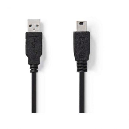 USB 2.0 kábel | A Dugasz - Mini 5-pólusú Dugasz | 2,0 m | Fekete