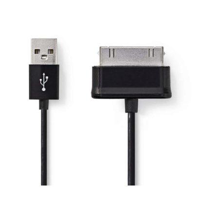 Szinkronizáló- és töltőkábel | 30 tűs Samsung Dugasz - USB A Dugasz | 1,0 m | Fekete