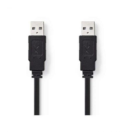 USB 2.0 Laposkábel | A Dugasz - A Dugasz | 1,0 m | Fekete