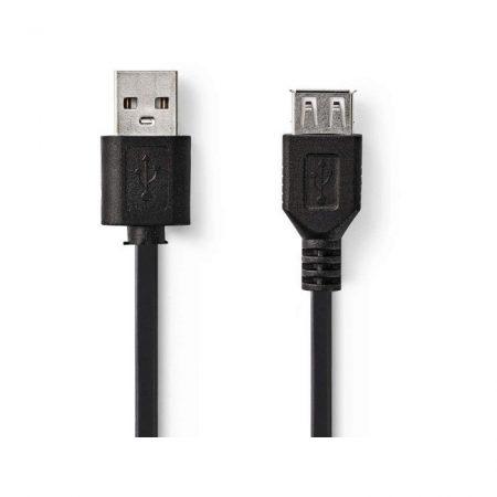 USB 2.0 kábel | A Dugasz - A Aljzat | 0,2 m | Fekete