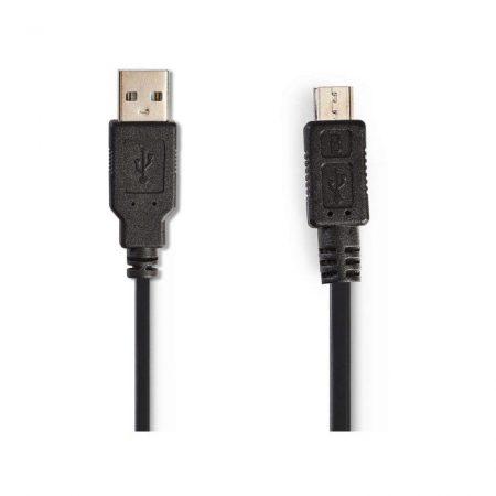 USB 2.0 Spirálkábel | A Dugasz - Mikro B Dugasz | 2,0 m | Fekete