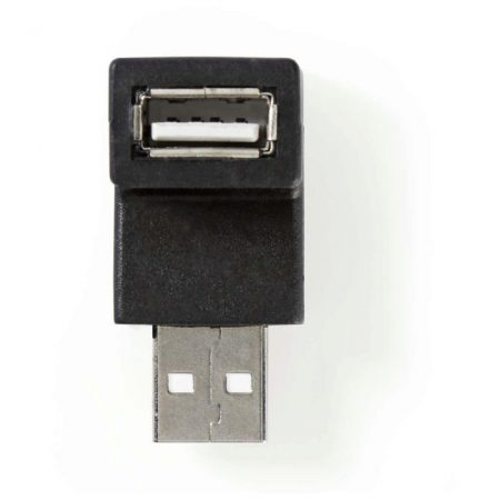 USB 2.0 Adapter | A Dugasz - A Aljzat | 90°-ban Hajlított | Fekete