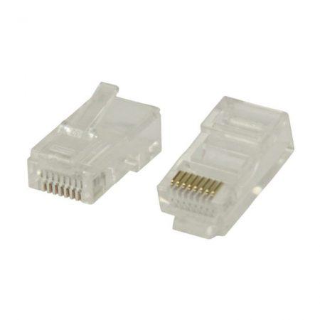 Hálózati Csatlakozó | RJ45 Male - Szilárd Cat 5 UTP-kábelekhez | 10 darabos | Átlátszó