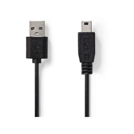 USB 2.0 kábel | A Típusú Dugasz – Mini 5 Tűs Dugasz | 1,0 m | Fekete