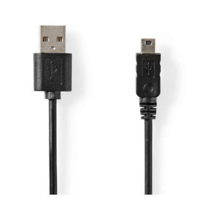 USB 2.0 kábel | A Típusú Dugasz – Mini 5 Tűs Dugasz | 2,0 m | Fekete