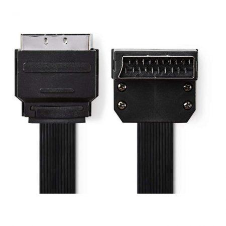 SCART-laposkábel | SCART Dugasz - SCART-dugasz, 90°-ban Hajlított | 2,0 m | Fekete