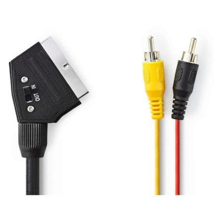 Kapcsolható SCART-kábel | SCART Dugasz - 2 db RCA Dugasz | 2,0 m | Fekete