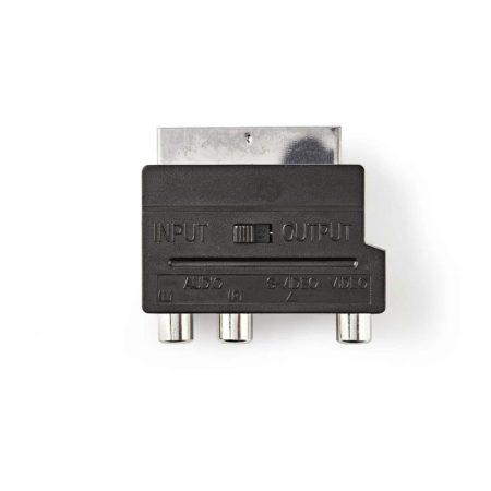 Kapcsolható SCART adapter | SCART Dugasz - S-Video Aljzat + 3 db RCA-aljzat | Fekete