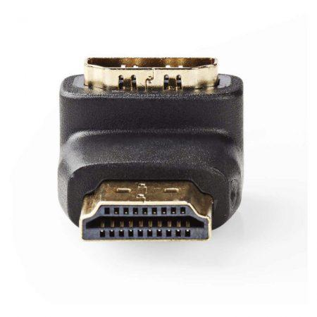 HDMI-adapter | HDMI-csatlakozó - HDMI-aljzat | 90°-ban Hajlított | Fekete