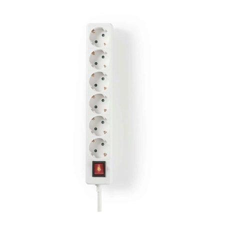 Elosztó | Védőérintkező Be-/kikapcsolóval | 6-irányú | 3,0 m | Fehér