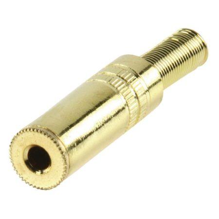 Jack aljzat 3.5 mm , vezeték végére szerelhető, sztereo, Fém