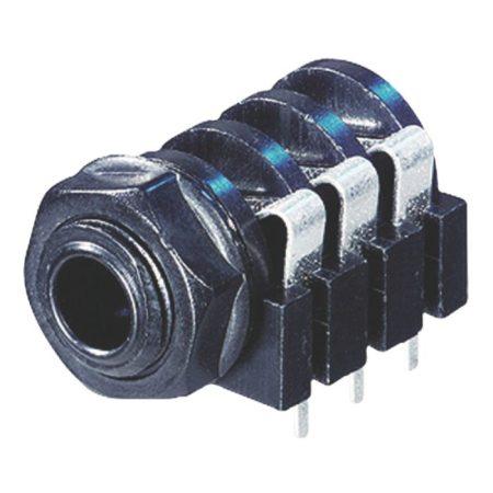 Jack aljzat 6.35 mm, sztereó,  PVC,beépíthető,Fekete