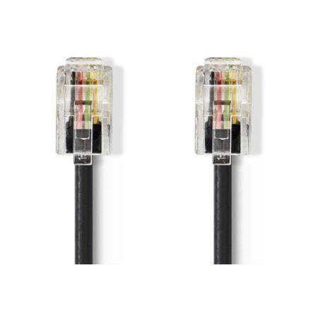 Telekommunikációs kábel | RJ10 Dugasz - RJ10 Dugasz | 2,0 m | Fekete