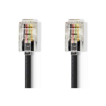 Telekommunikációs kábel | RJ10 Dugasz - RJ10 Dugasz | 5,0 m | Fekete
