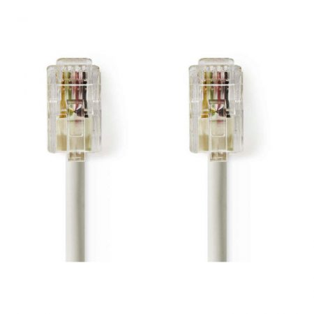 Telekommunikációs kábel | RJ10 Dugasz - RJ10 Dugasz | 2,0 m | Elefántcsont