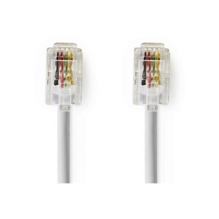 Telekommunikációs kábel | RJ10 Dugasz - RJ10 Dugasz | 2,0 m | Fehér