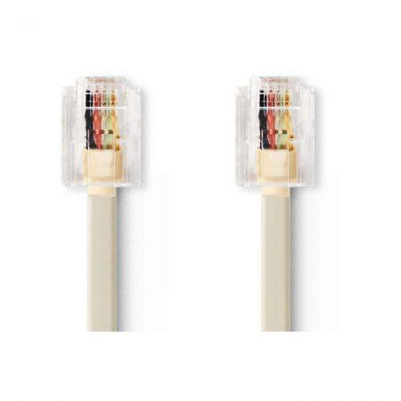 Telekommunikációs kábel | RJ11 Dugasz - RJ11 Dugasz | 5,0 m | Elefántcsont