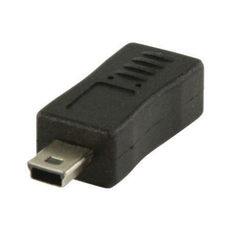 USB 2.0 Adapter Mini B Dugasz - Micro B Aljzat Fekete